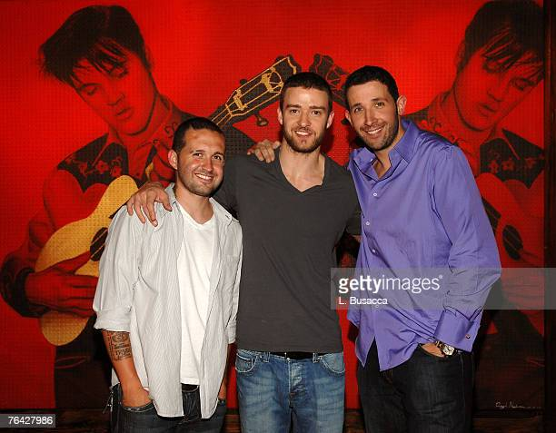 NEW YORK JULY 18 Coowners Trace Alaya Justin Timberlake and Eytan Sugarman during the grand opening of Justin Timberlake's restaraunt Southern...