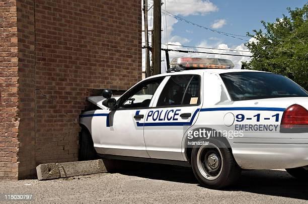 cop car crash - car crash wall stock photos and pictures