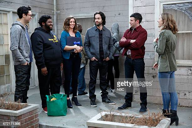 UNDATEABLE Cop Number Four Walks Into A Bar Episode 208 Pictured Rick Glassman as Burski Ron Funches as Shelly Bianca Kajlich as Leslie Chris D'Elia...