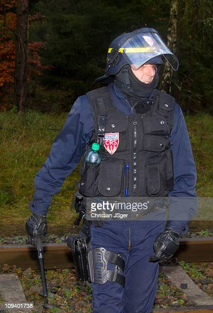 Cop of the french Special Unit CRS in Germany at the 'Castortransport' to fight against people they want to 'schottern'