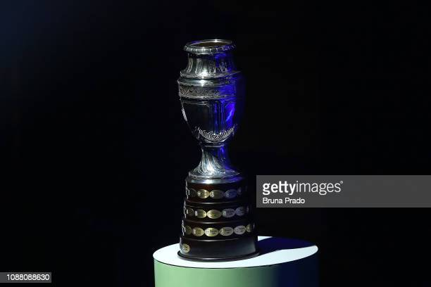 Copa America Trophy is displayed during the Copa America 2019 Official Draw at Cidade das Artes on January 24, 2019 in Rio de Janeiro, Brazil.