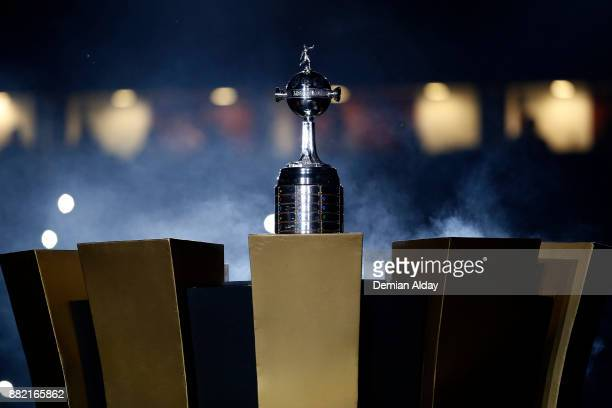 Copa CONMEBOL Libertadores Bridgestone is displayed on a plinth during the second leg match between Lanus and Gremio as part of Copa Bridgestone...