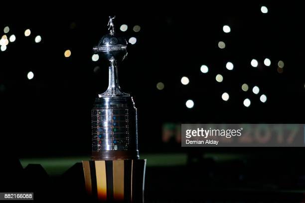Copa CONMEBOL Libertadores Bridgestone is displayed on a plinth before the second leg match between Lanus and Gremio as part of Copa Bridgestone...