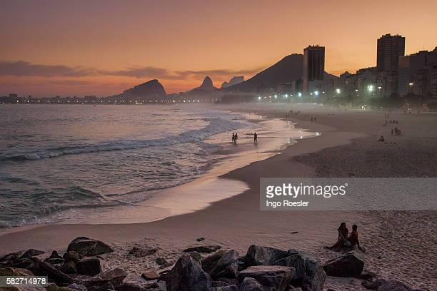 Copacabana Beach after sunset