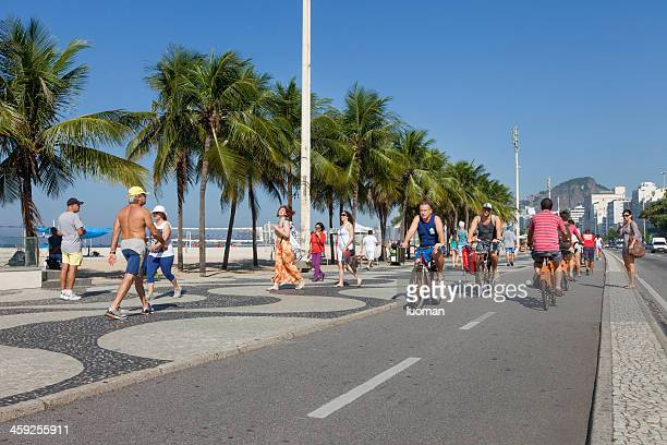 copacabana beach bike path - copacabana beach stock pictures, royalty-free photos & images