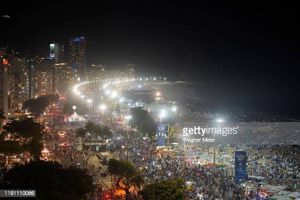 Copacabana beach is seen before New Years Eve in Rio de Janeiro on December 31, 2019 in Rio de Janeiro, Brazil.