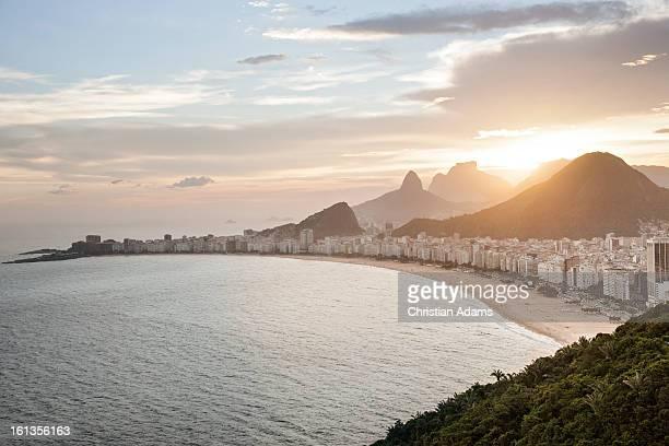 Copacabana beach,Rio de Janeiro at dusk