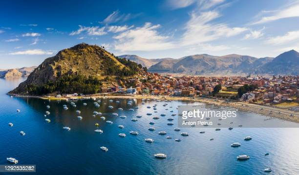 copacabana city in bolivia and titicaca lake aerial view - copacabana stock pictures, royalty-free photos & images
