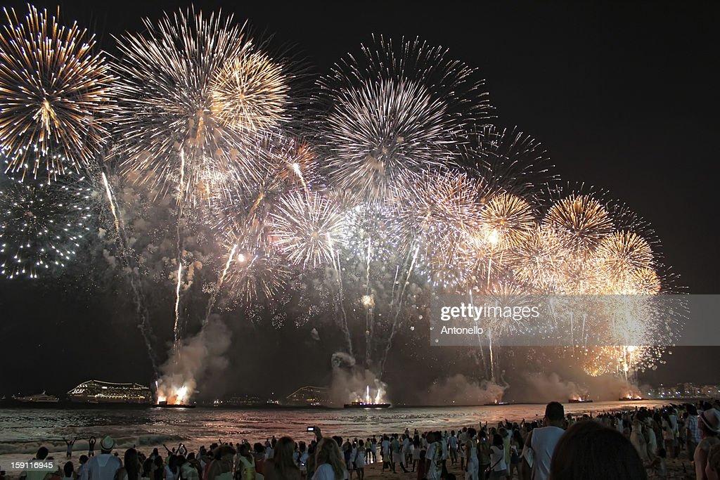 Copacabana fireworks 2012-13 : Stock Photo