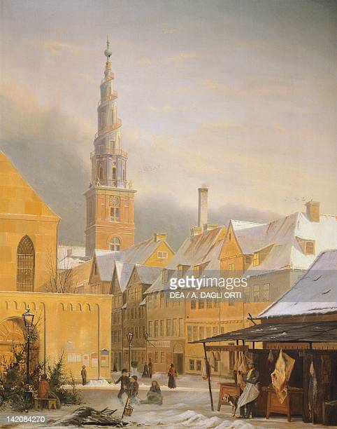 Copenaghen Dronningensgade in winter by Niels Bredal Denmark 19th Century