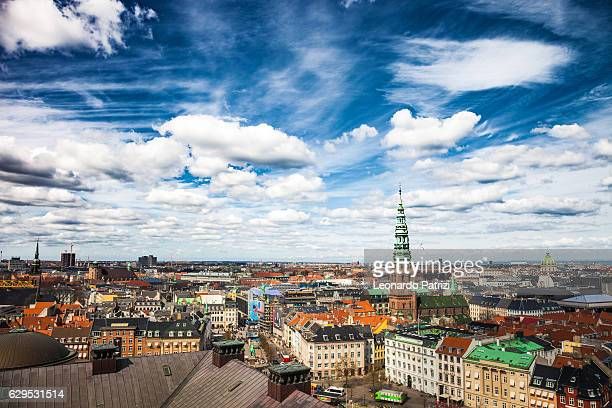 copenhagen aerial view cityscape - copenhagen stock pictures, royalty-free photos & images