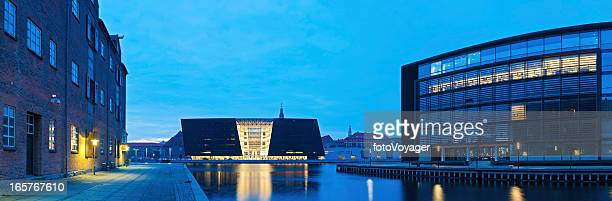 Copenhagen blue dusk Royal Danish Library harbour panorama
