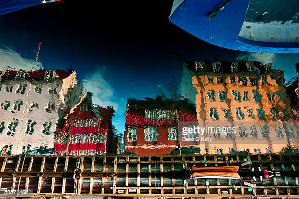 copenhagen canal reflection - oresund region stock photos and pictures