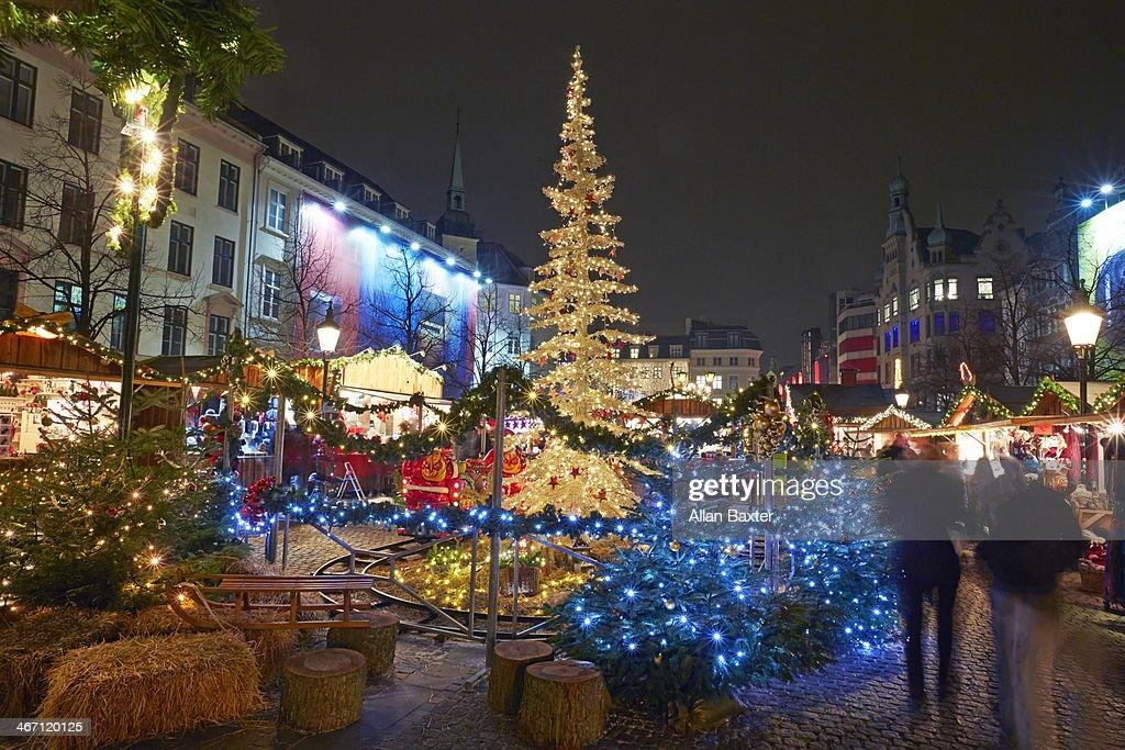 Copenhagen Christmas market at night : Stock Photo