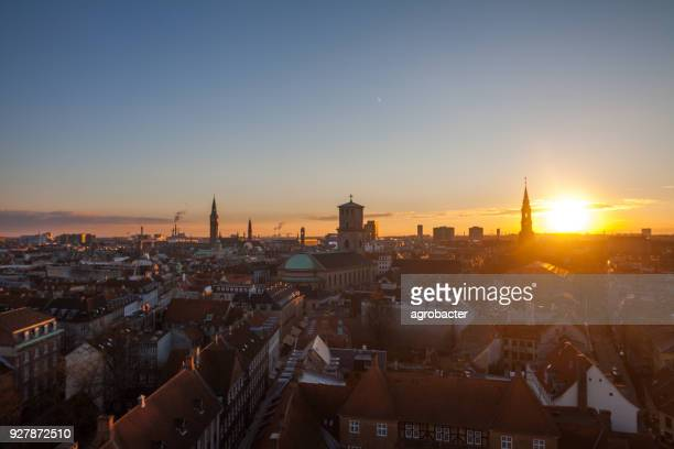 Copenhagen city center at sunset light (Copenhagen, Denmark)