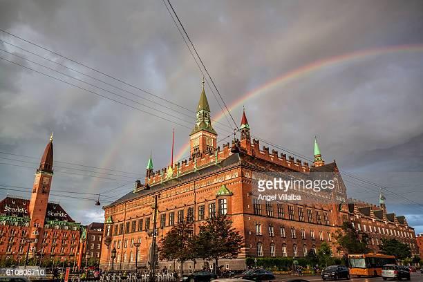 Copenhagen. City hall and rainbow