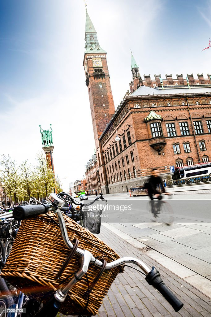 Copenhagen city hall full of bicycle parked in the square : Stock Photo