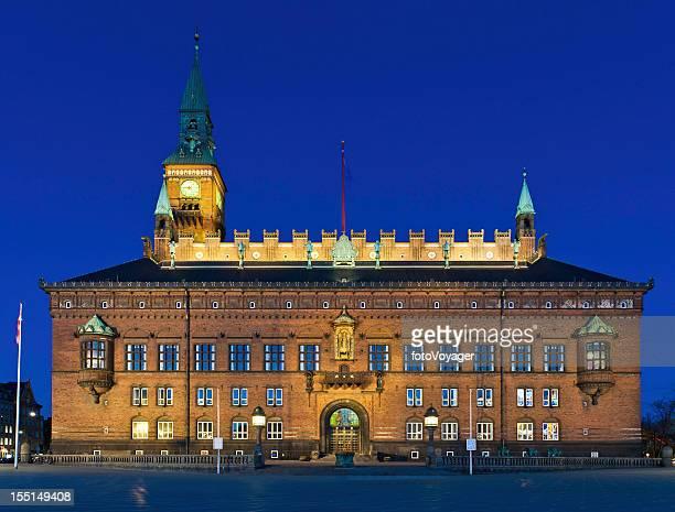 Copenhagen City Hall Square illuminated Denmark