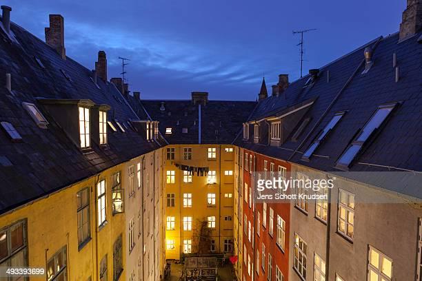Copenhagen Courtyard at Night