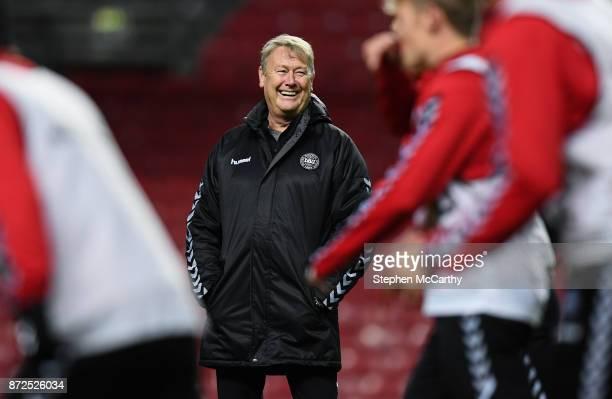 Copenhagen Denmark 10 November 2017 Denmark manager Aage Hareide during Denmark squad training at Parken Stadium in Copenhagen Denmark
