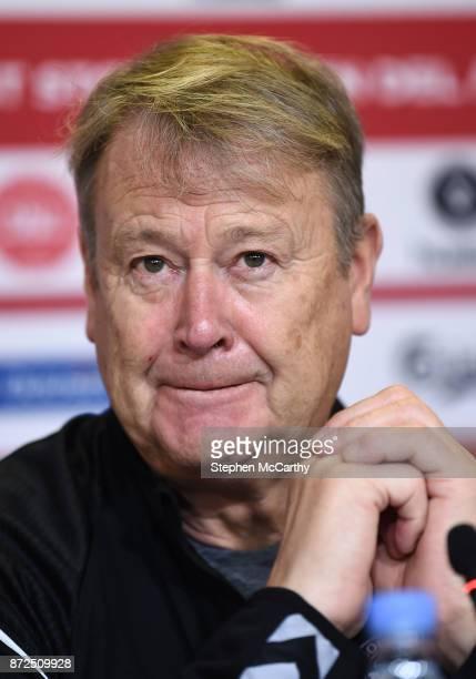 Copenhagen Denmark 10 November 2017 Manager Aage Hareide during a Denmark press conference at Parken Stadium in Copenhagen Denmark