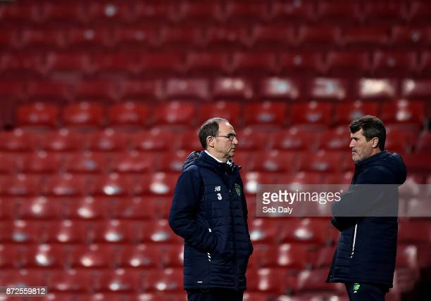 Copenhagen Denmark 10 November 2017 Republic of Ireland manager Martin O'Neill left and assistant manager Roy Keane right during squad training at...