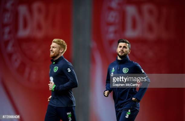 Copenhagen Denmark 10 November 2017 Shane Long right and Paul McShane during Republic of Ireland squad training at Parken Stadium in Copenhagen...