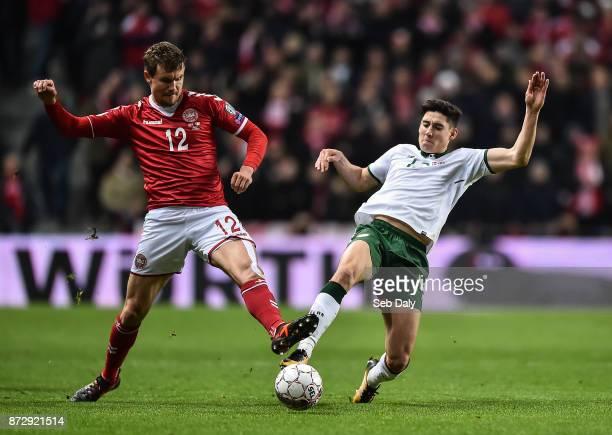 Copenhagen Denmark 11 November 2017 Andreas Bjelland of Denmark in action against Callum O'Dowda of Republic of Ireland during the FIFA 2018 World...
