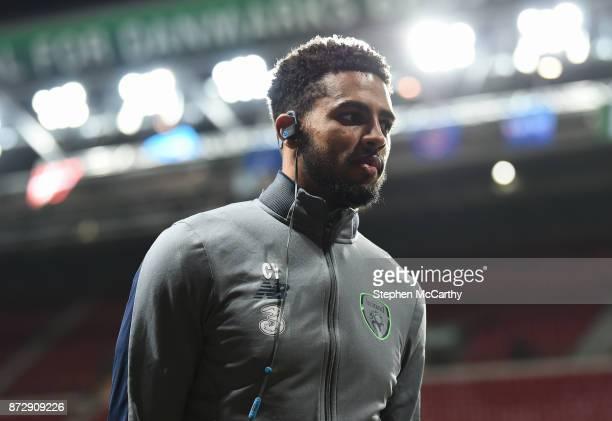 Copenhagen Denmark 11 November 2017 Cyrus Christie of Republic of Ireland prior to the FIFA 2018 World Cup Qualifier Playoff 1st Leg match between...