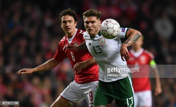 Copenhagen Denmark 11 November 2017 Jeff Hendrick of Republic of Ireland in action against Thomas Delaney of Denmark during the FIFA 2018 World Cup...