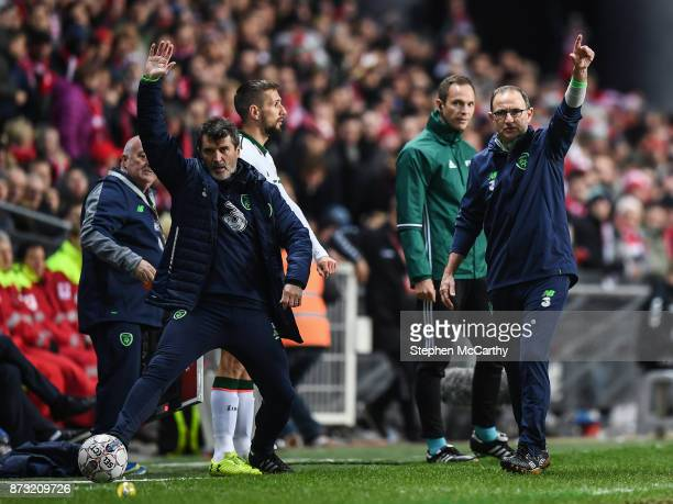 Copenhagen Denmark 11 November 2017 Republic of Ireland manager Martin O'Neill and assistant Roy Keane during the FIFA 2018 World Cup Qualifier...