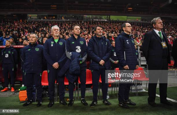 Copenhagen Denmark 11 November 2017 Republic of Ireland manager Martin O'Neill second from right with assistants from right Steve Walford Roy Keane...