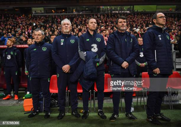 Copenhagen Denmark 11 November 2017 Republic of Ireland manager Martin O'Neill right with assistants from right Roy Keane Steve Guppy Seamus McDonagh...