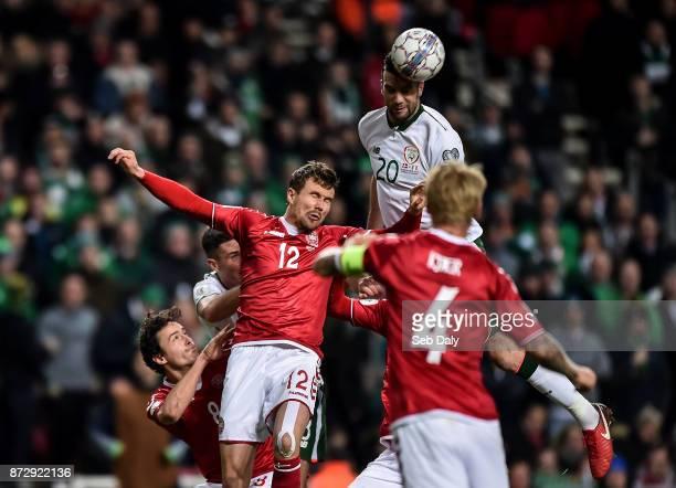 Copenhagen Denmark 11 November 2017 Shane Duffy of Republic of Ireland in action against Andreas Bjelland of Denmark during the FIFA 2018 World Cup...