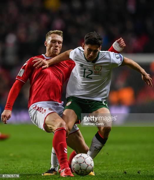Copenhagen Denmark 11 November 2017 Viktor Fischer of Denmark is tackled by Callum O'Dowda of Republic of Ireland during the FIFA 2018 World Cup...