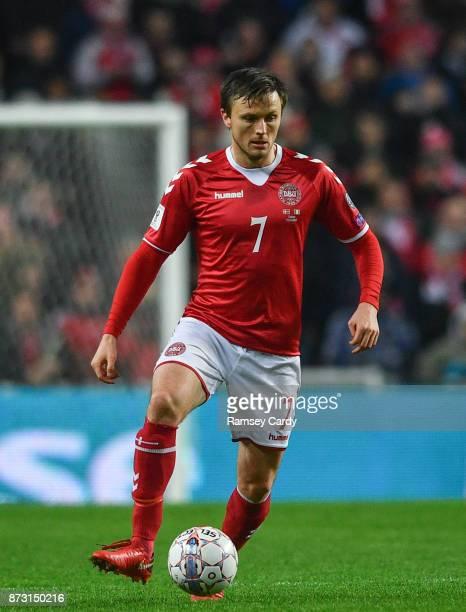 Copenhagen Denmark 11 November 2017 William Kvist of Denmark during the FIFA 2018 World Cup Qualifier Playoff 1st Leg match between Denmark and...