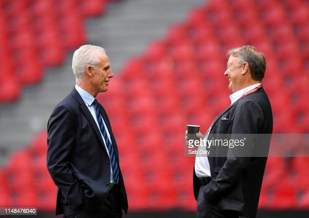 Copenhagen Denmark 7 June 2019 Republic of Ireland manager Mick McCarthy left and Denmark manager Åge Hareide prior to the UEFA EURO2020 Qualifier...