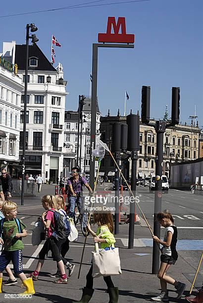 Copenhagen / Denmark _New M_Metro sign for traveler for Metro computer train at Kongens nytorv metro station 6 Jun e2013