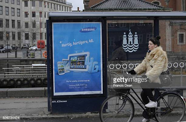Copenhagen / Denmark Billboard with samsung Galaxy tablet 4 G at bus stop 7 Feb 2013