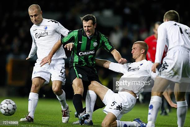 Celtic's Maciej Zurawski is stopped by FC Copenhagen defenders Hjalte Norregaard Brede Hangeland and Michael Gravgaard during their Group F UEFA...