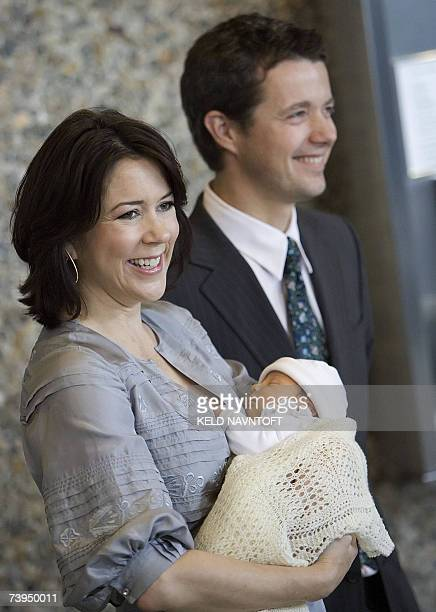 Danish Crown Prince Frederik and his wife Princess Mary present their newborn daughter 23 April 2007 at Rigshospitalet in Copenhagen The new princess...