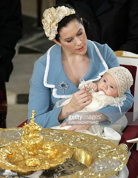 Danish Prince Christian Valdemar Henri John in seen in the arms of his mother Australian born Crown Princess Mary wife of Danish Crown Prince...