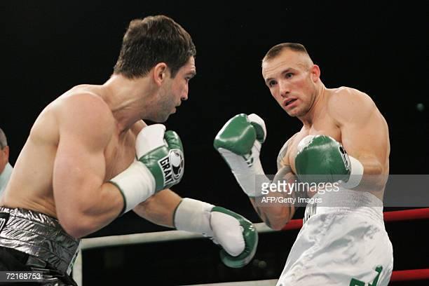 Danish WBA super middleweight boxing champion Mikkel Kessler vies with German WBC world champion Markus Beyer at Parken Stadium in Copenhagen 14...