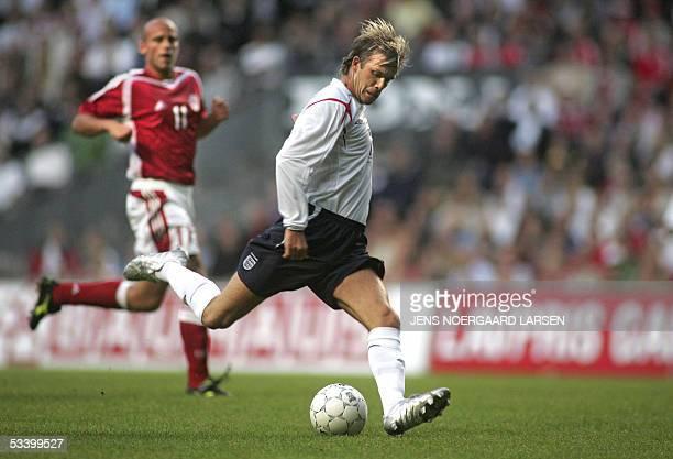 Denmark's Klaus Jensen vies with England's David Becham during the friendly football match Denmark vs England at the Parken Stadium in Copenhagen 17...