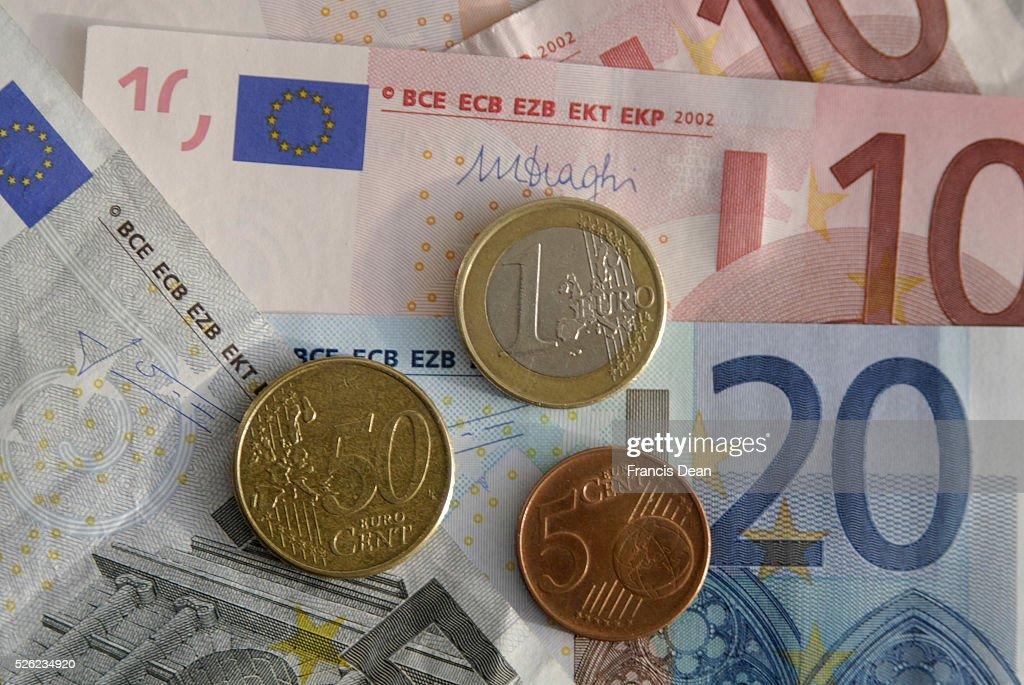 Euro money notes and coin or eurozon countries : News Photo