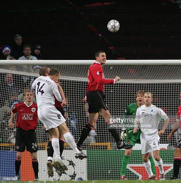 Manchester United's John O'Shea heads the ball away during Champions League Group F soccer match against FC Copenhagen in Copenhagen 01 November 2006...