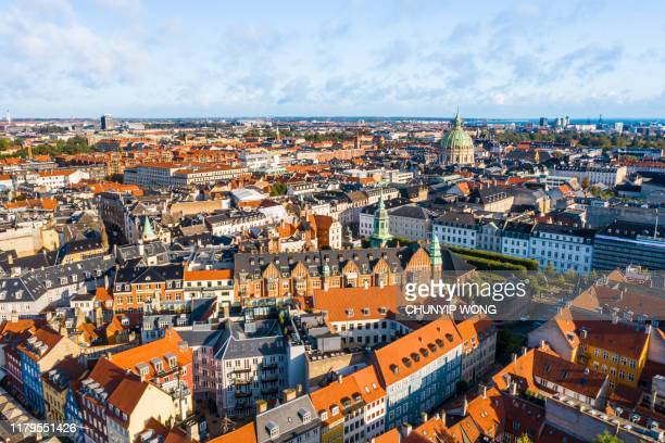copenhagen, denmark. new harbour canal and entertainment famous street. aerial shoot view from the top - copenhagen stock pictures, royalty-free photos & images