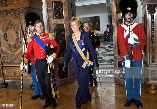 The newly appointed French ambassador to Denmark Madame Anne GazeauSecret is escorted by Lord Chamberlain Ove Ullerup as she arrives at Fredensborg...