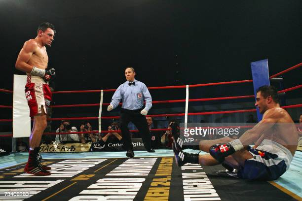 Robert Guerrero looks at his opponent Spend Abazi of Denmark 23 February 2007 during the vacant IBF cruiserweight world champion title, in...