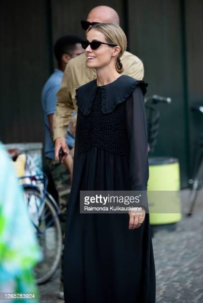 Copenhagen Fashion Week CEO Cecilie Thorsmark outside Ganni wearing black dress during Copenhagen fashion week SS210n August 10, 2020 in Copenhagen,...